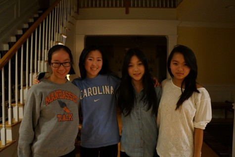 A few KFKI members at one of its meetings (from left to right) Jessalyn Chuang, Amy Park, Grace Lee, and Ivy Jin
